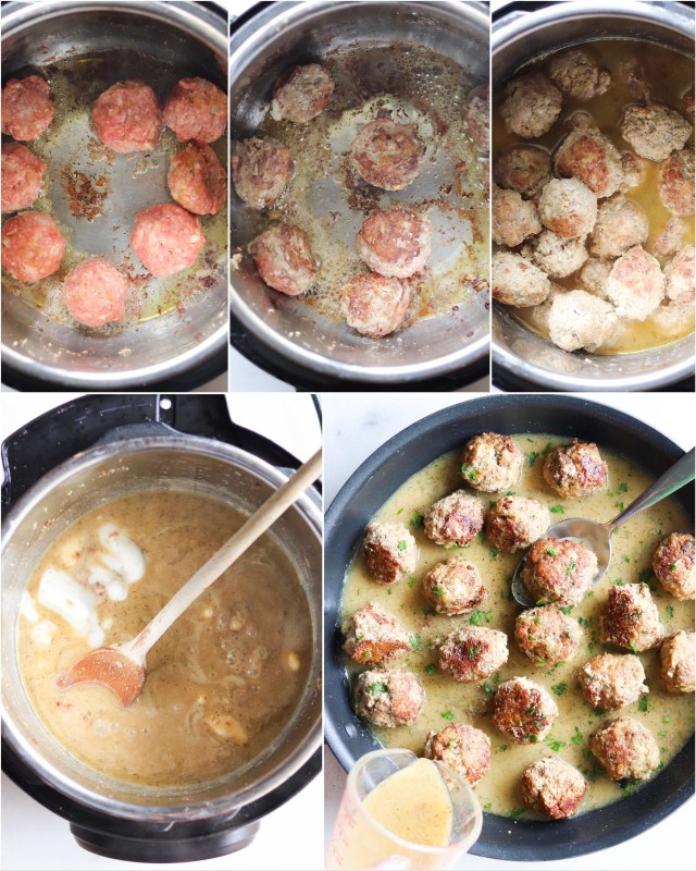 A collage showing step-by-step process to cook simple Instant Pot Swedish Meatballs. First, brown the meatballs, then cover and cook, then remove and simmer the gravy, then serve!