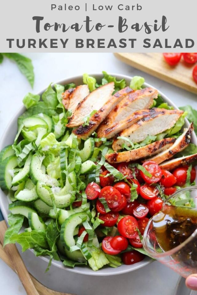"Hero shot of the finished dish with the words ""Paleo, Low Carb Tomato-Basil Turkey Breast Salad"" for Pinterest."