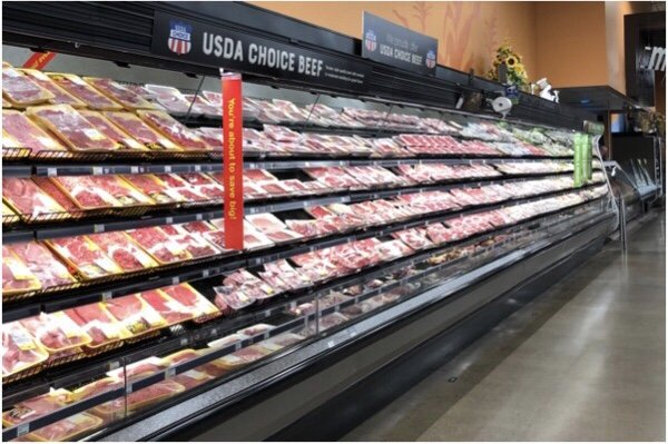 Side view of the meat aisle.