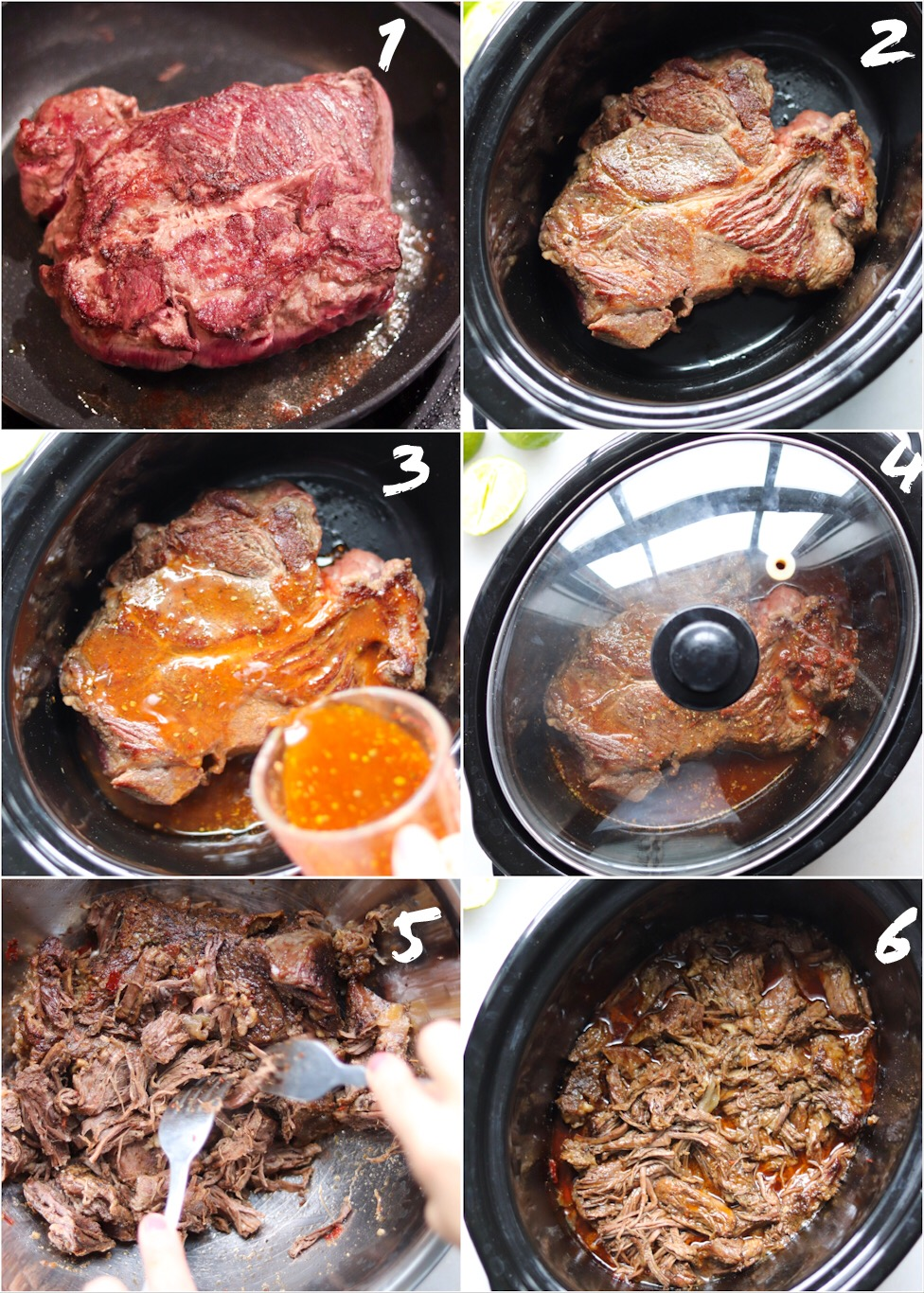 Step by Step collage of photos showing how to cook Barbacoa beef in the slow cooker: First, brown the beef, then transfer to the slow cooker. Pour the chipotle, broth, and herb mixture over the beef, cover, and cook. Shred the beef and return to the slow cooker to keep warm.