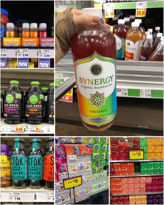 Collage of Whole30 compliant drinks at Kroger