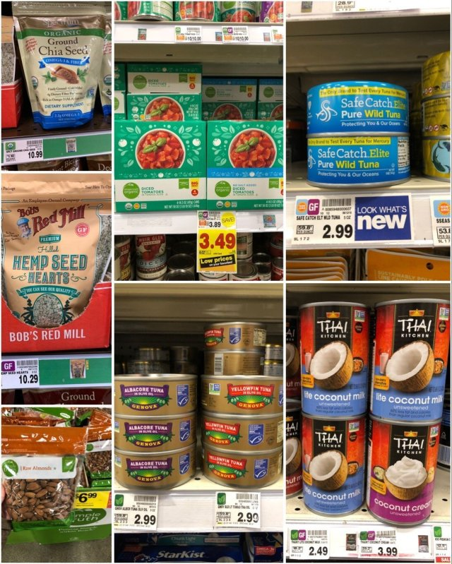 A collage of pantry items available at Kroger, all Whole30 compliant.