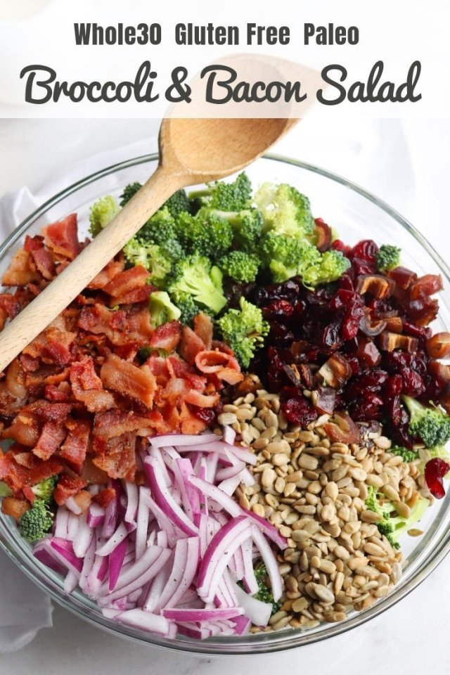 "Pinterest Graphic showing the Broccoli & Bacon Salad with the text, ""Whole30/Paleo Broccoli & Bacon Salad."""