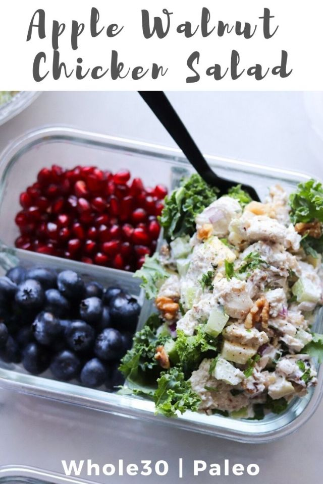 """Photo of the finished dish with the text """"Apple Walnut Chicken Salad, Whole30, Paleo"""" for Pinterest."""