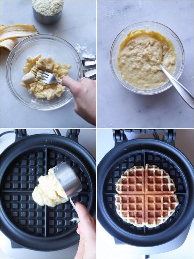 Collage of photos showing the step by step process of how to make Paleo waffles. Smash the banana, mix all the ingredients, pour into the waffle maker and cook.