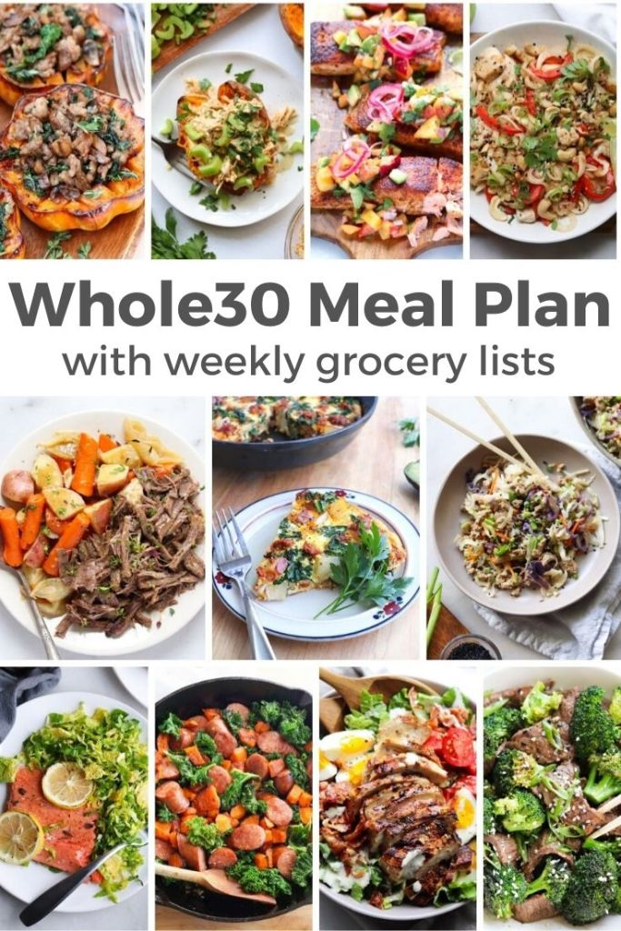 "Collage of photos with finished Whole30 Meals and the text ""Whole30 Meal Plan with weekly grocery lists"""