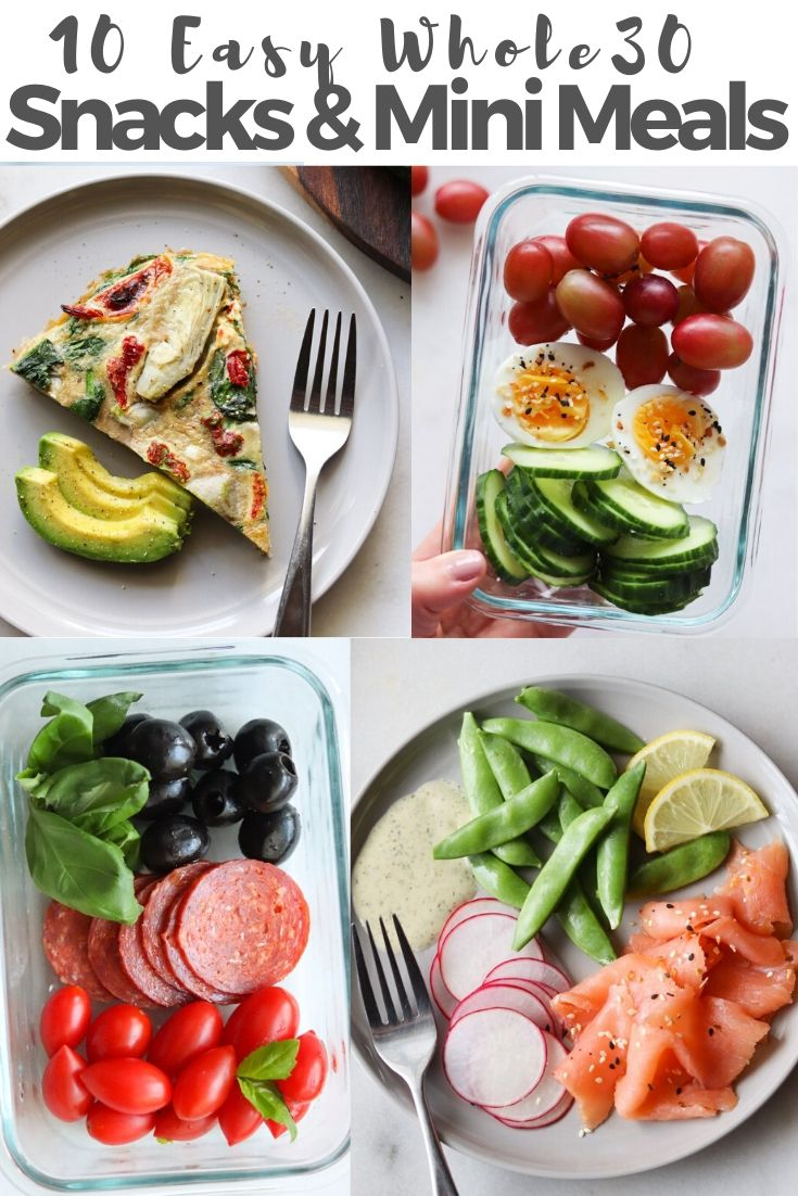 A collage of plated Whole30 mini meals and snacks.