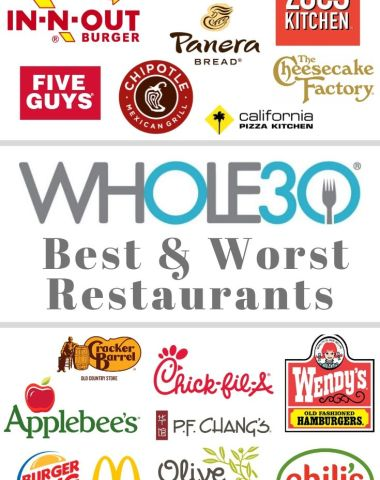 "Collage showing logos of all the restaurants listed and the text ""Whole30 Best and Worst Restaurants"""