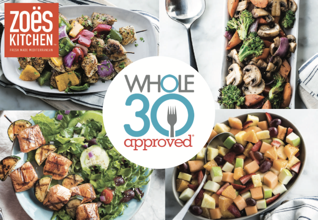 Collage showing the dishes available at Zoes Kitchen with the Whole30 Approved logo.