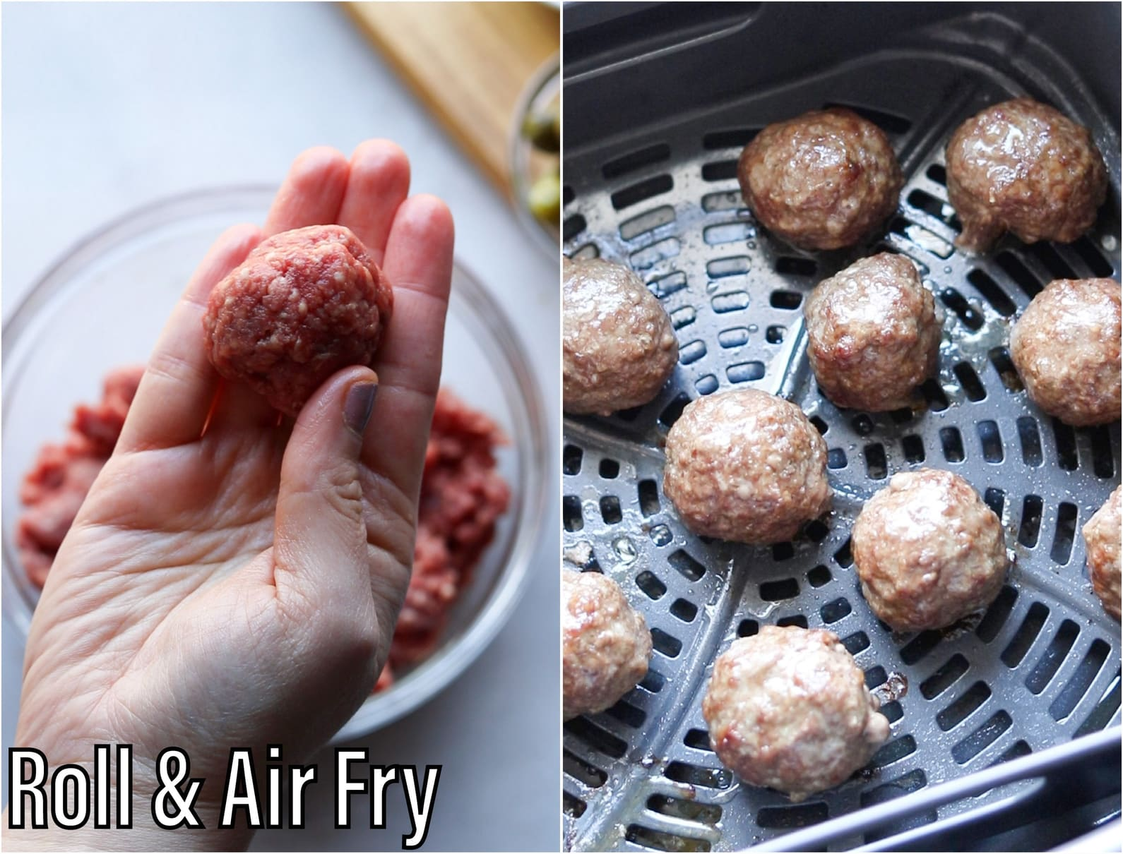 A collage of process shots, showing hands rolling the meat into burger bites and cooking them in the air fryer.