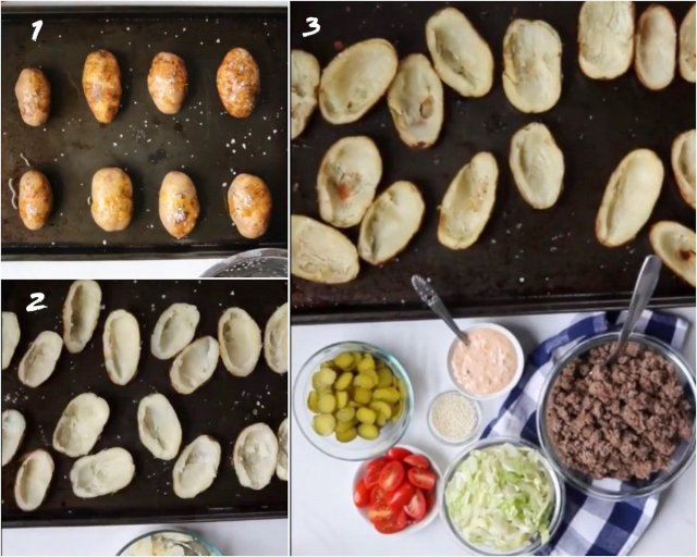 Collage showing step by step process to make the Big Mac Potato Skins recipe.
