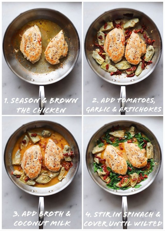 Collage showing step by step process shots: The chicken browning in the skillet, the vegetables added, and the broth and spinach.