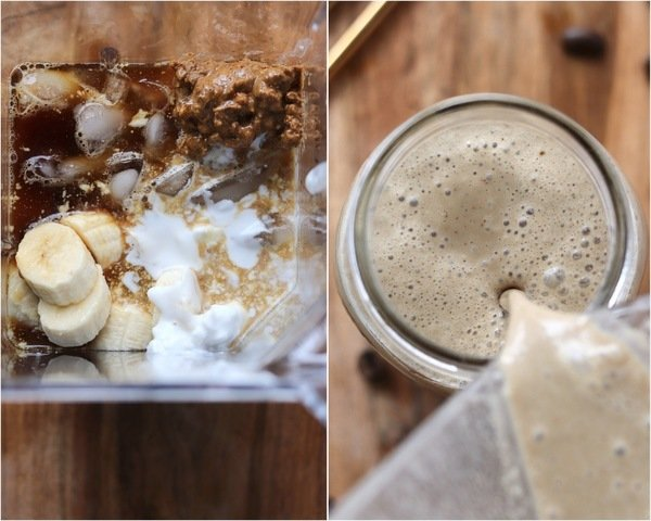 A collage showing a photo of all the ingredients added to the blender, and the finished banana coffee smoothie being poured into a mason jar.