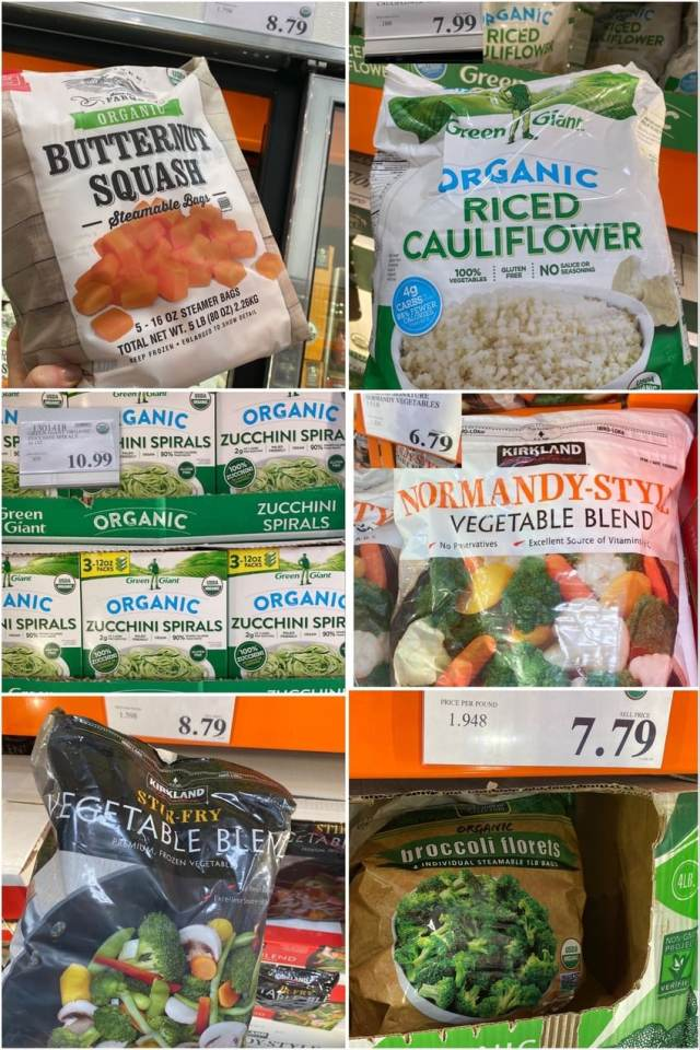 A collage of photos of different vegetables on the shelf at Costco.
