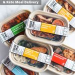 "All the meals on a white board with the words ""Whole30 + Keto Meal Delivery Discount Code & Review: Snap Kitchen"""
