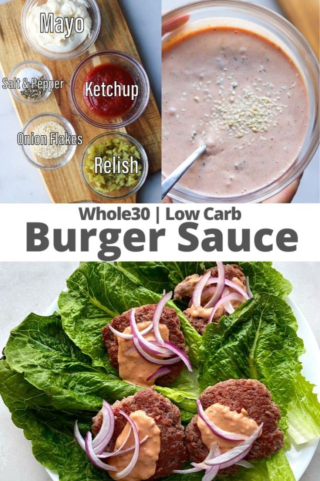 """Pinterest graphic with a collage of images showing the ingredients, the mixed sauce, and the sauce topping burgers with the text """"Whole30 