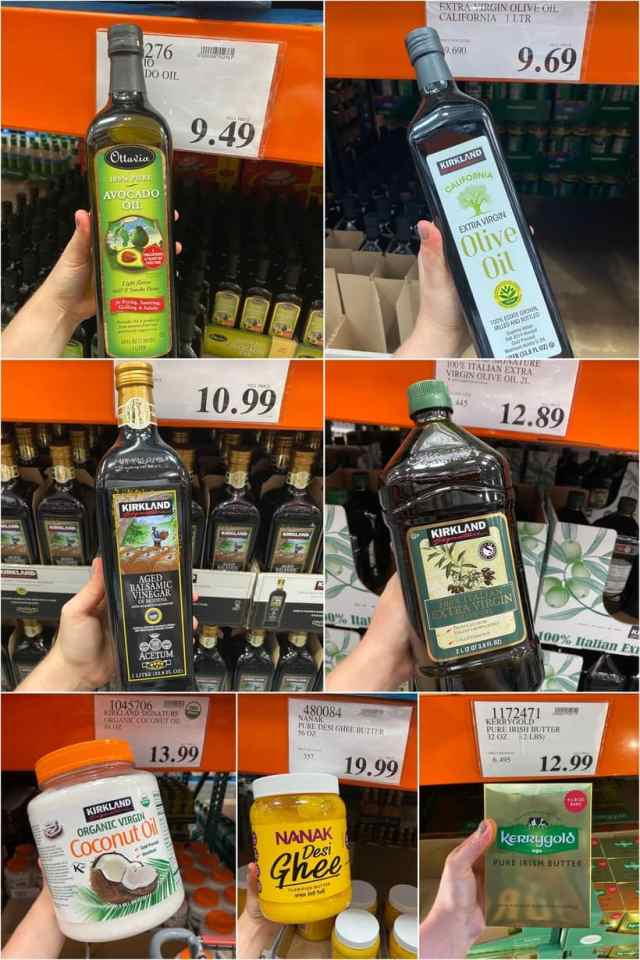 A collage of oils in the grocery aisle at Costco with prices.