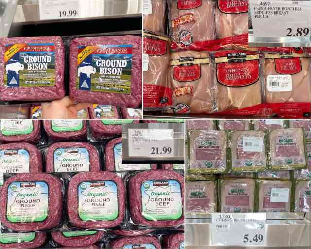 A collage of photos of ground bison, chicken breasts, ground beef, and turkey.