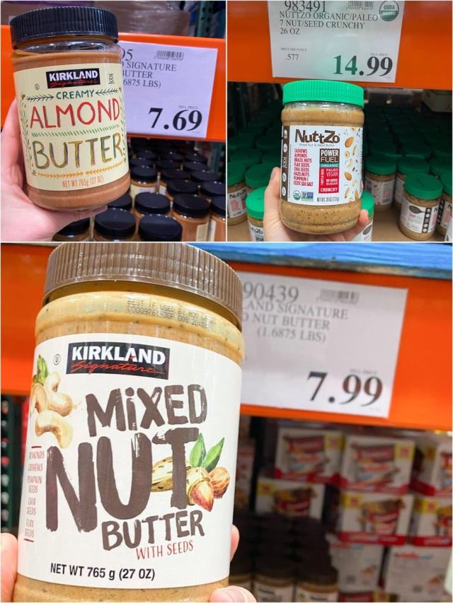 A collage of three photos of different nut butters being held in a hand beside the prices.