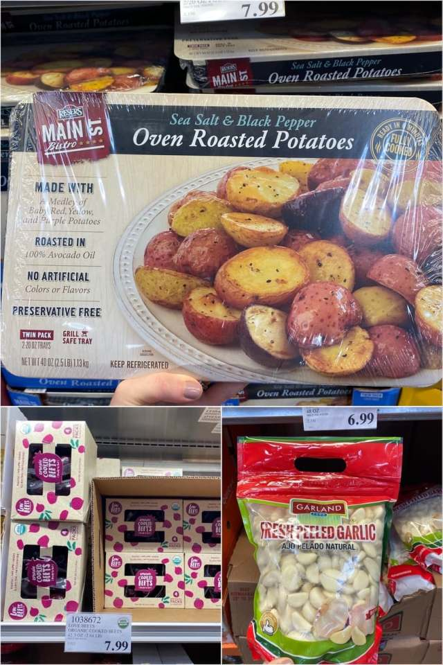 A collage of photos of packaged roasted potatoes, beets, and garlic.