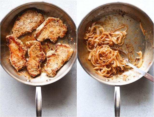 Collage of process shots showing the pork chops browning in a skillet and the onions caramelized in the skillet.