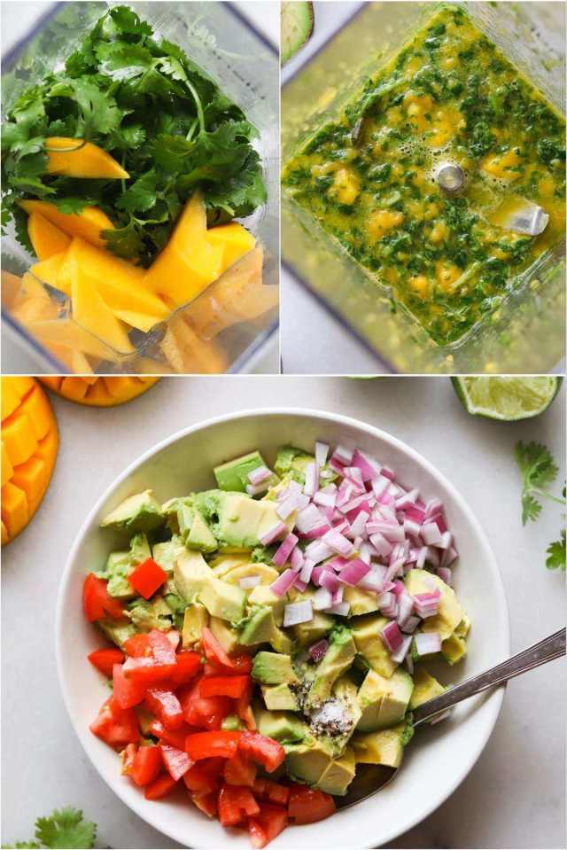A collage showing the process shots - the blender with mango, lime, and cilantro inside, then the mixture mixed together, and a white bowl filled with the diced vegetables.