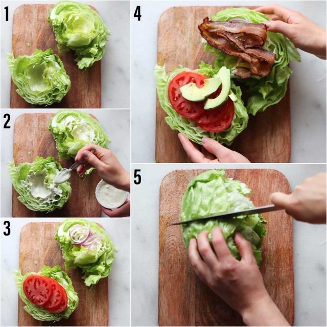 Process shots showing step by step to assemble the sandwich.