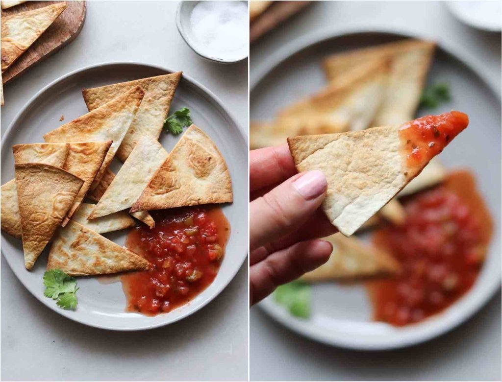Collage of the plated chips with salsa, and a close up of a hand holding one chip.