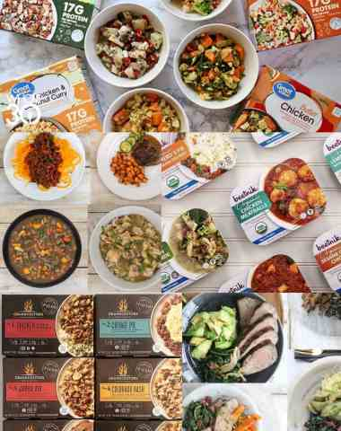 A collage of all the Whole30 Approved and Paleo compliant frozen meals