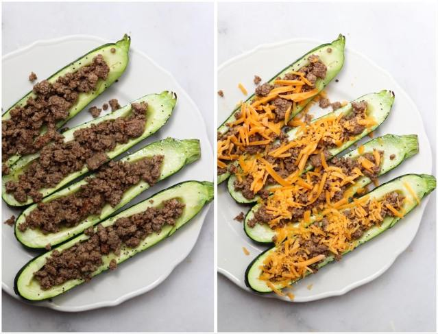 The par cooked zucchini filled with ground beef and topped with cheddar cheese.
