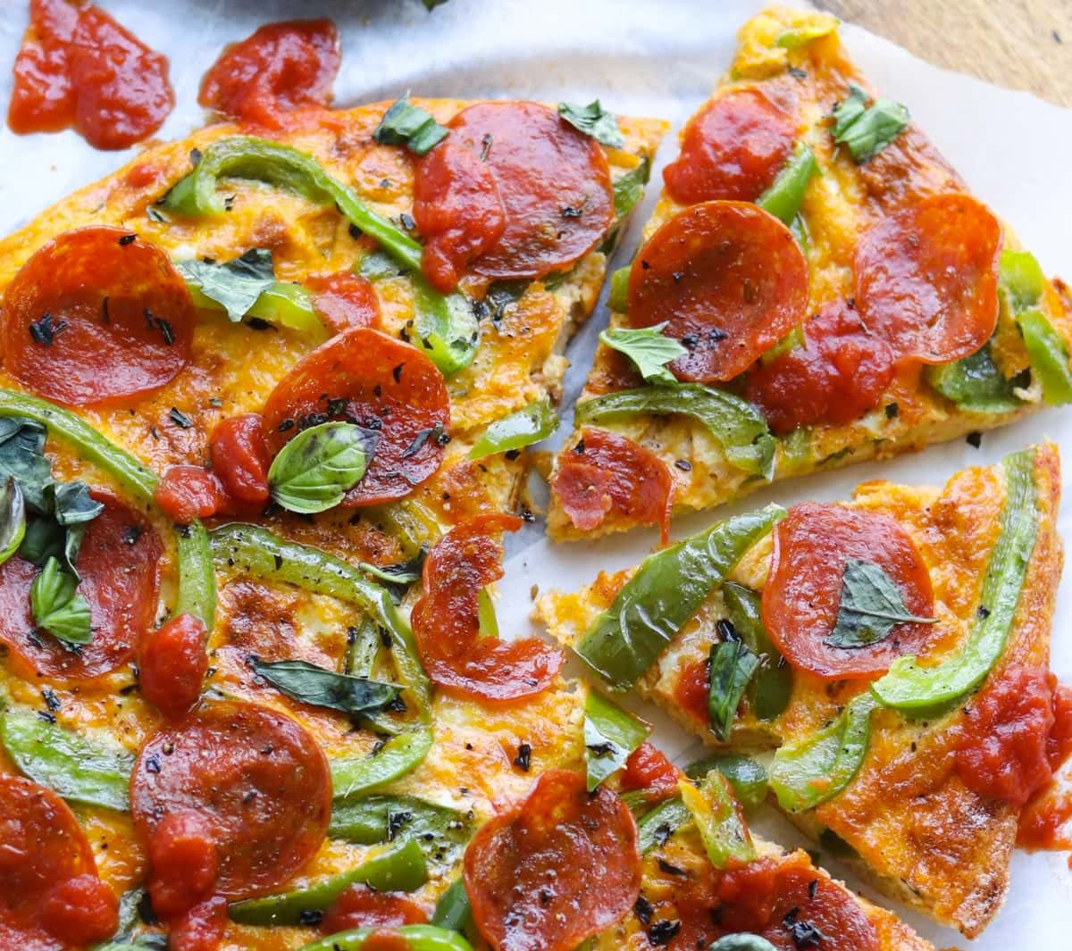 Close up of the sliced frittata.