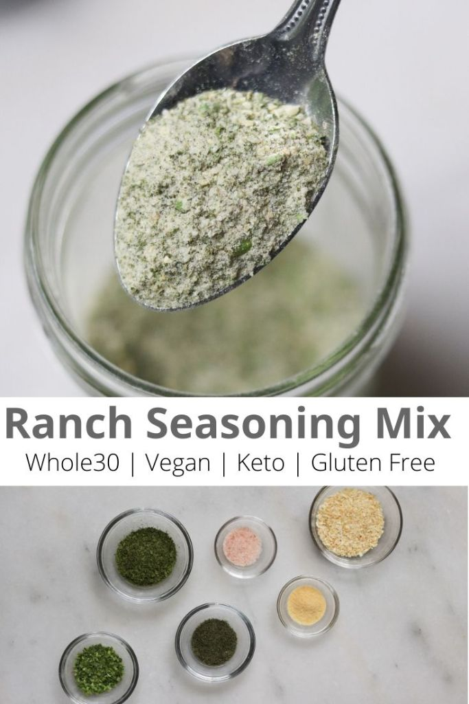 "Pinterest graphic with a closeup of the finished ranch seasoning and the words ""Ranch Seasoning Mix, Whole30, Vegan, Keto, Gluten Free"""