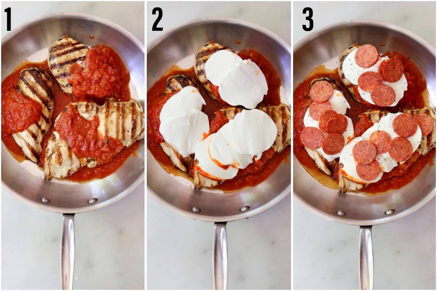 Collage of three photos showing the process to make the recipe: The chicken and sauce in the skillet, then topped with cheese, and finally topped with pepperoni slices.