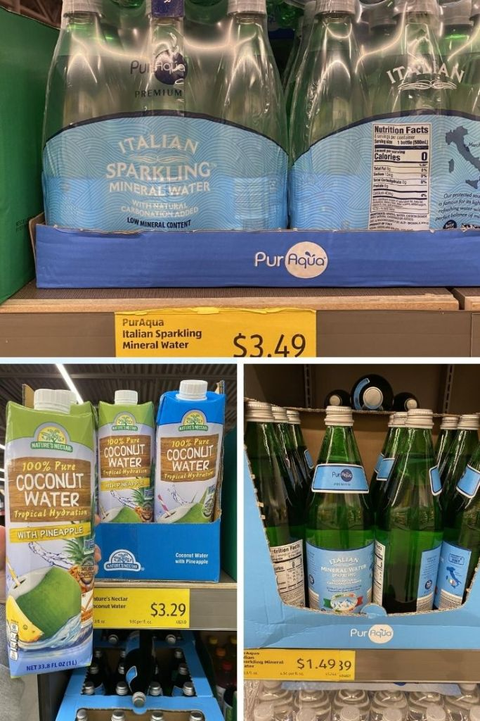 Collage of drinks at Aldi - Sparkling Mineral water for $3.49, coconut waters for $3.29, and Italian Mineral Water for $1.49.
