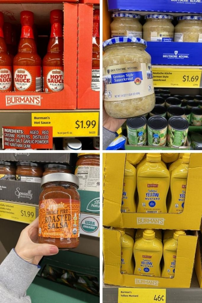 Jars of hot sauce labeled $1.99, Sauerkraut for $1.69, and Fire Roasted Salsa for 1.99, and yellow mustard for .46 at Aldi.