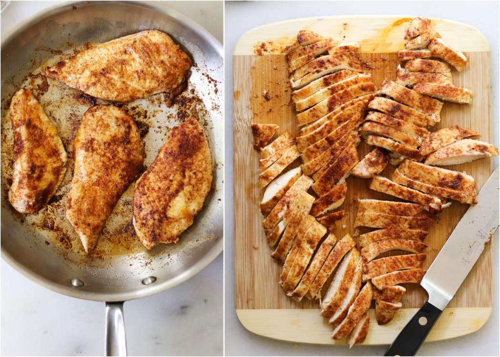 Collage showing the chicken breasts cooking in a skillet, then sliced into strips on a cutting board.