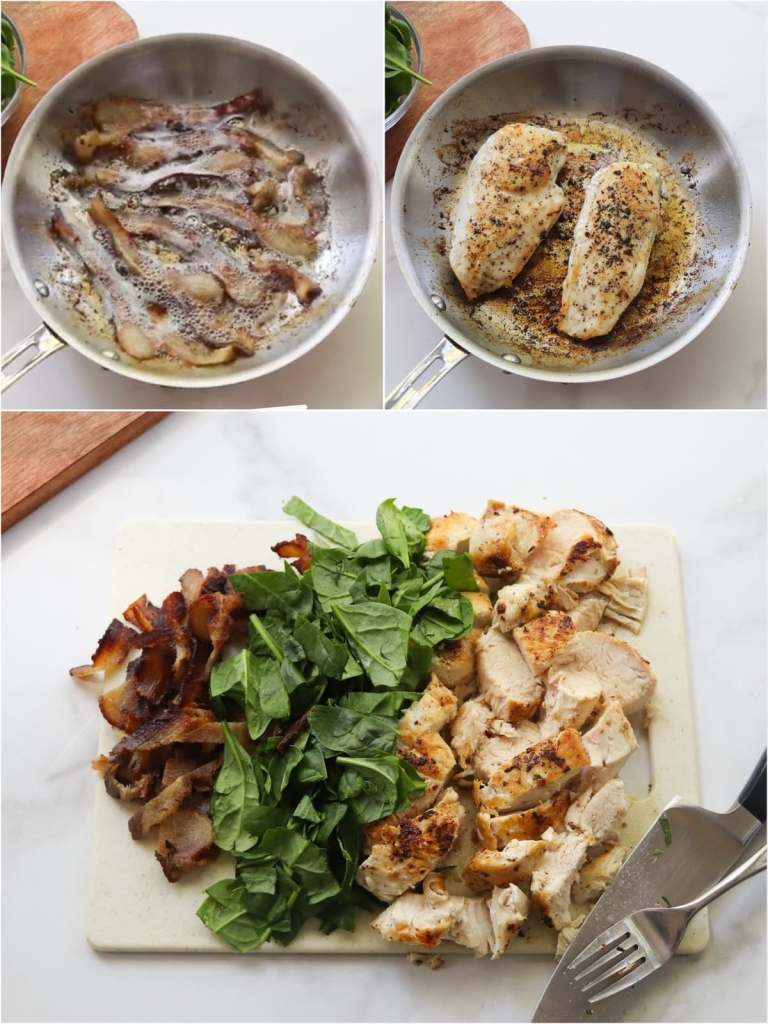 Collage of process shots showing bacon cooked in a skillet, chicken breasts cooked in a skillet, and the chicken, bacon, and spinach cut into bite sized pieces on a cutting board.