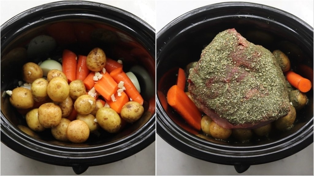 Process collage showing top down of the vegetables added to the slow cooker, then top down of the the seasoned beef set on top of the vegetable.