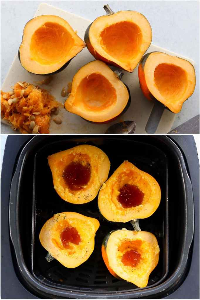 Collage showing the cooking process: The acorn squash cut in half and the seeds scooped out, and the acorn squash prepped and inside the air fryer basket.