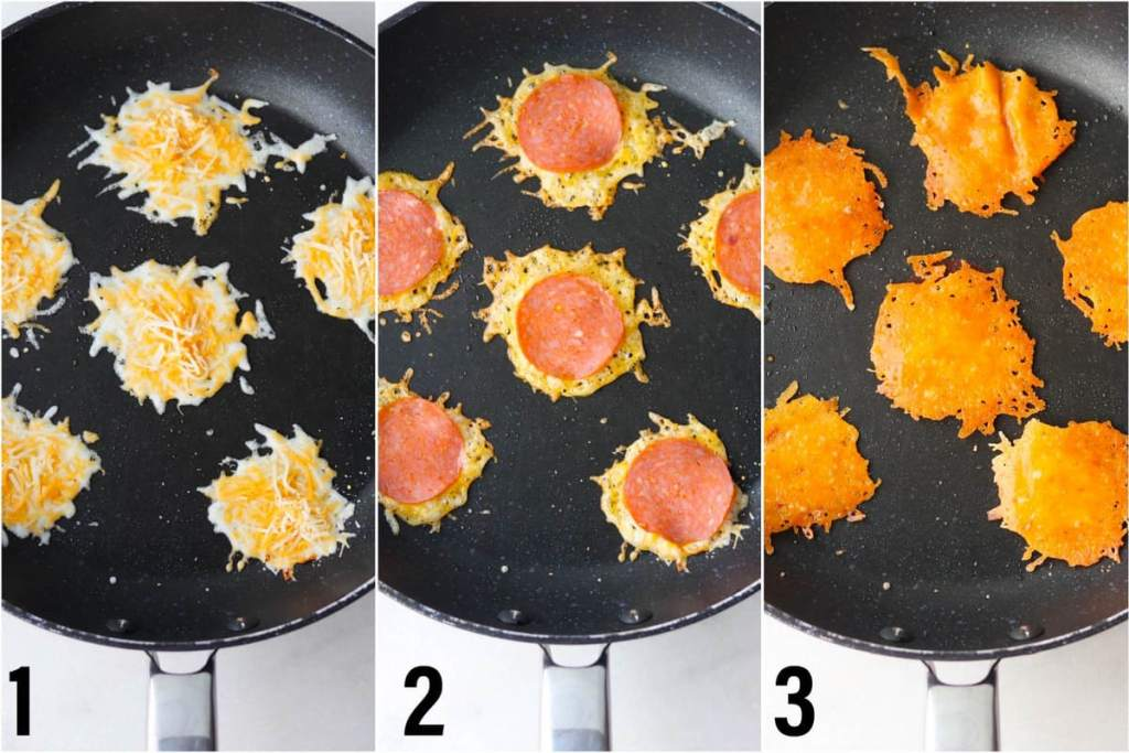Collage showing steps 1-3, the cheese added to the skillet, the pepperoni added on top, and the crisps flipped over.