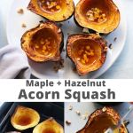 "Collage of images showing the finished dish with the words ""Air Fryer, Paleo Maple Acorn Squash"" for Pinterest."