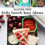 """Collage of images of prepared lunches with the words """"Gluten Free kids lunch box ideas"""" for Pinterest."""