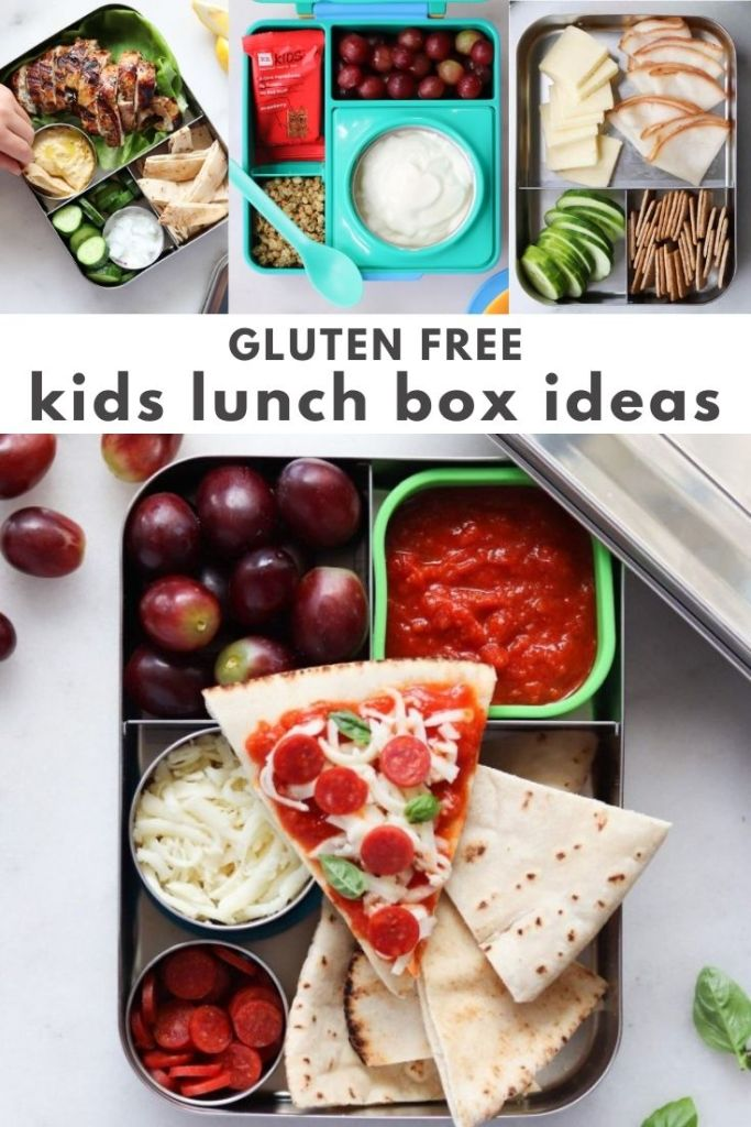 """Collage of assembled lunch box photos with the words """"Gluten Free kids lunch box ideas"""" for Pinterest."""