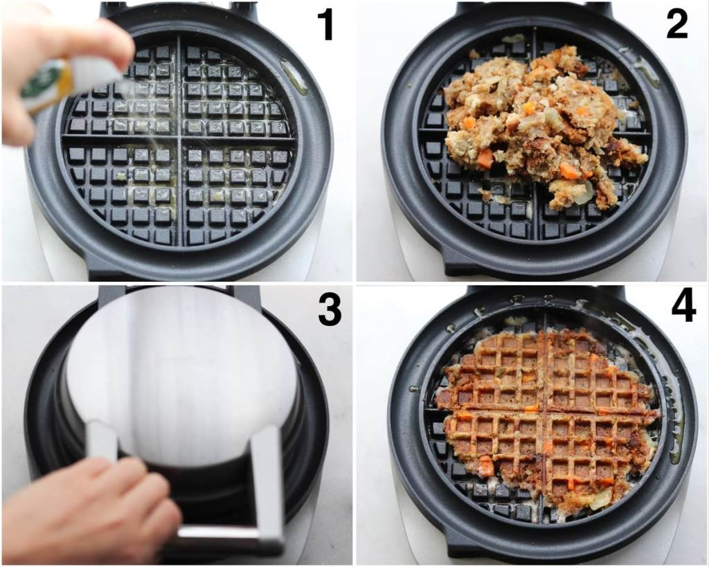 Collage showing the step by step process: a hand sprays a waffle iron with oil, the leftover stuffing on the heated waffle iron, the waffle iron cooking, then the cooked stuffing waffle.