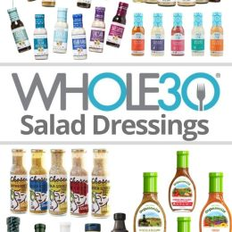 "Pinterest graphic with the words ""Whole30 Salad Dressings"" with a collage of images of bottles of salad dressings."