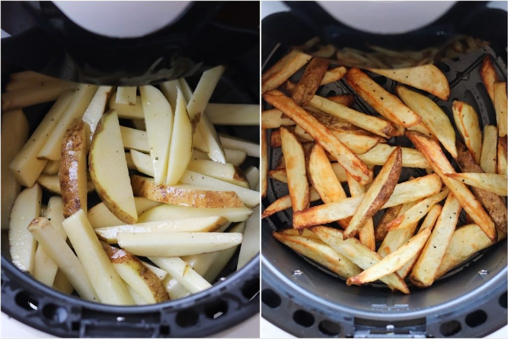 Collage showing the fries added to the air fryer uncooked, then cooked inside the basket.