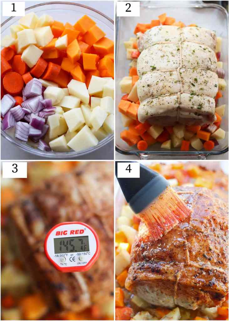 Collage showing the cooking process. Diced vegetables, the pork loin on a baking dish, a close up of the meat thermometer reading 145F, and a brush putting maple mustard on the roast.