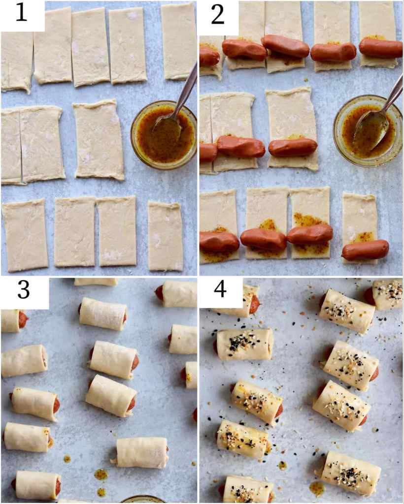 Collage with the step by step assembly of the pigs in a blanket.