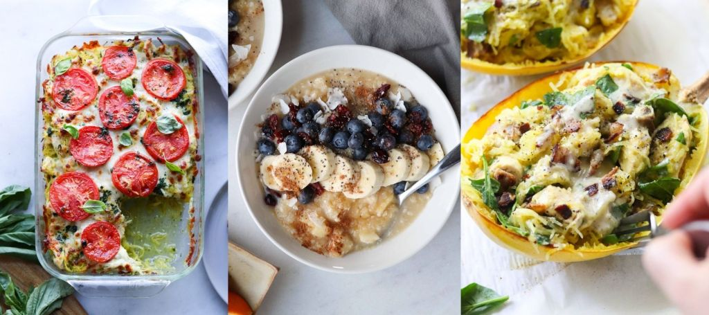 Collage of finished recipes that feature spaghetti squash: Pesto chicken casserole, porridge, and chicken and ranch stuffed squash.