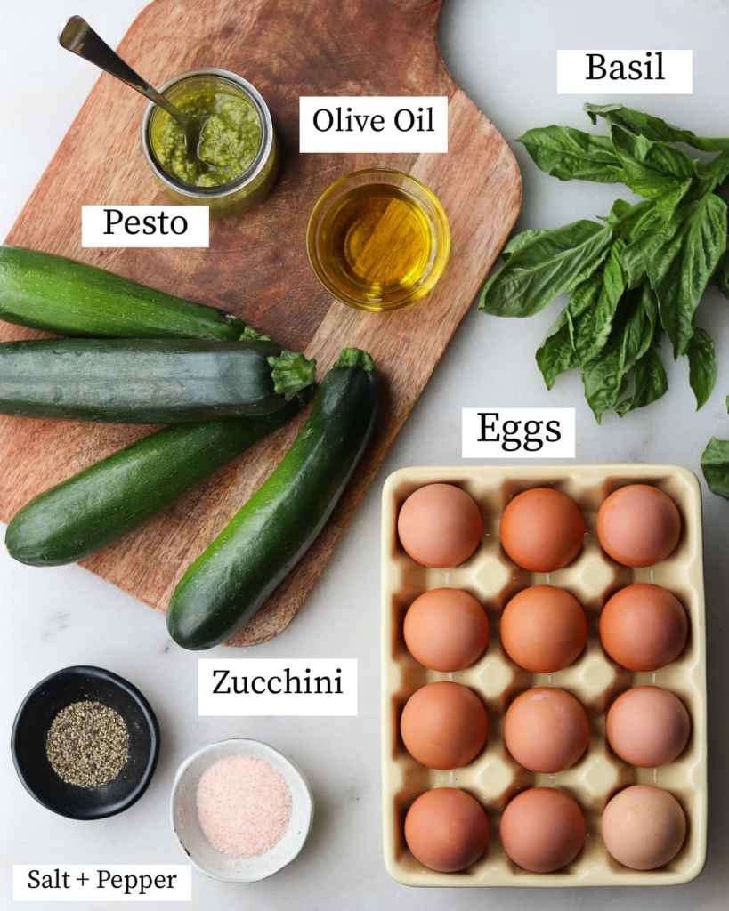 The recipe ingredients laid out on a board and labeled: eggs, olive oil, basil, zucchini, pesto, and salt and pepper.